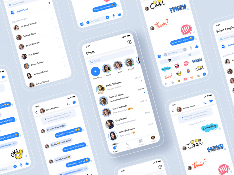 Messaging App Concept (Freebie) splash login color conversion webdesign product design task schedule stickers chatting messaging app video call call event chatbot chat dashboad illustration app website