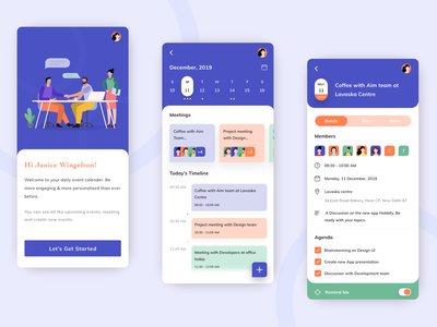 Meetify App Design meetup meeting schedule event app illustration card time reminder calender ui ux icon location tasks task management to do app mobile design management app calendar design