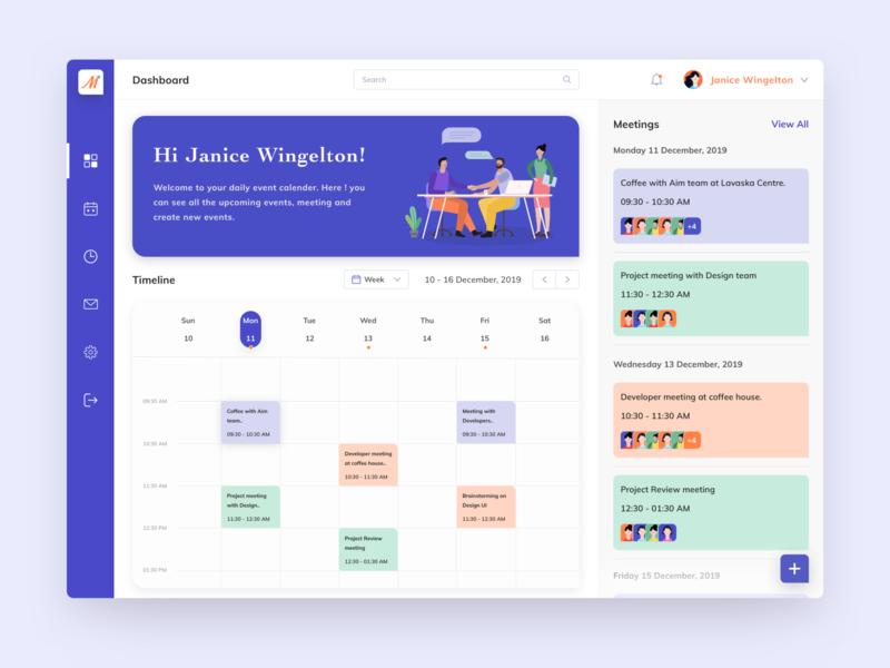 Meetify Dashboard Design calendar design management app mobile design to do app task management tasks location icon ux ui calender reminder time card illustration app event schedule meeting meetup