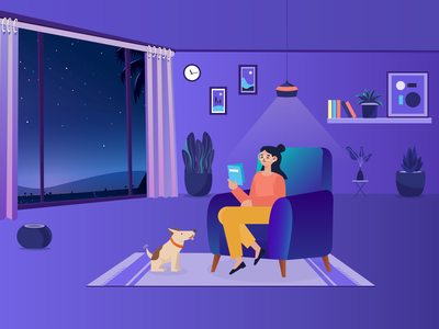 Home Illustration homepage home website art illustration art chairs dogs plants landing page reading books nature mountain traveling travel vector illustration design ux ui
