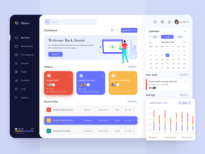 Drive- Storage Management Dashboard Concept app design web design dashboard design dashboad file management storage drive meeting event task management task management app managment illustration clean webdesign web minimal app website