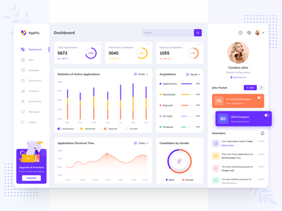 Applify  - Job Management Dashboard colors product design recruiter pattern abstract illustration schedule event job application task management hr job web design website web app design app dashboard ux
