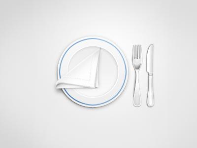 Place Setting dinner plate fork knife napkin minimilist omnomnom