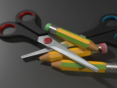Scissors & Pencils autodesk maya render colourful scissor pencil stationary objects 3d