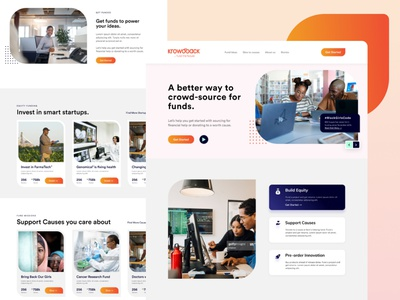 KrowdBack - Crowdfunding re-invented branding illustration tech agency landing page website design web crowdfunding campaign