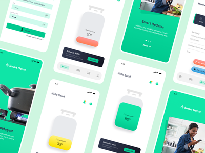SmartHome - Utility Monitoring App credit card tech illustration design app ui cooking app cooking gas monitoring