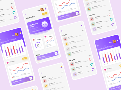 DRO Health App 2 - Keep track of your vitals product ui ux illustration design app doctor hospitals healthcare exercise blood pressure cholesterol heart health