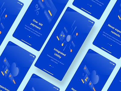 Utilitapp -  Integrated Utility Management App Onboarding splash onboarding payment credit card smart home tech branding design app illustration product utility