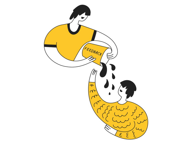 Feedback line lineart cute yellow comment character clean flat feedback web vector social review outline network minimal media illustration design cartoon