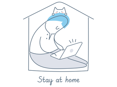 Stay at Home cat keep calm wash your hands virus stay safe 2020 pandemic stayhome quarantine isolation covid19 coronavirus corona line vector funny cartoon design illustration character