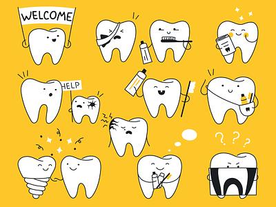 Cute teeth emotions ui branding line cute art caries dentistry dentist flat graphic design outline character vector funny cartoon design illustration teeth cute