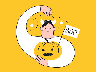 Halloween Party!🎃 smile happiness friends happy celebration pumpkin jack boo spooky dribbbleweeklywarmup halloween yellow branding cute funny vector cartoon design illustration character pumpkin