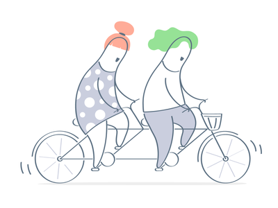 Tandem :) cooperation bicycle concept teamwork team outline lineart line work tandem happy funny ui vector illustration cartoon cute design character