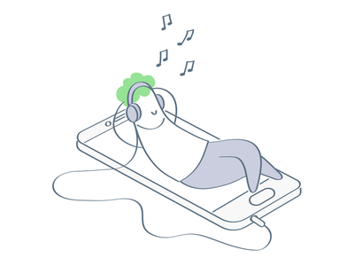 Music Lover music player music lover chill out relax app white line art outline clean line music guy character vector cute cartoon illustration funny