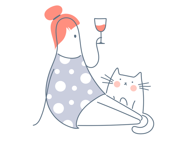 Is weekend coming soon?😄 chill out relax like ui light holiday cat wine weekend line art cartoon outline line girl vector cute funny illustration design character