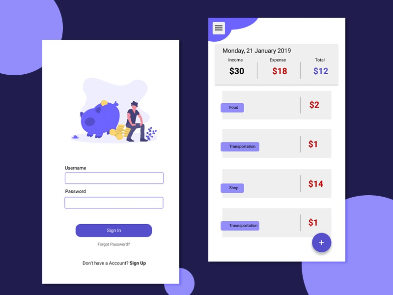 Daily Expense Manager uidesign illustration ui expense manager mobile app designapp