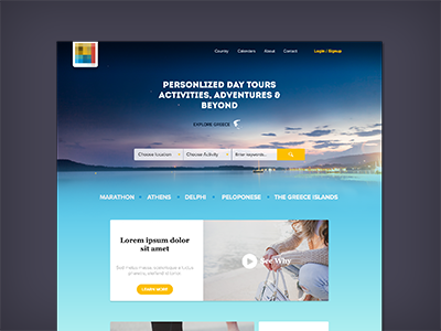Landing Page booking tours travel-agency greece tourist tourisme ui ux