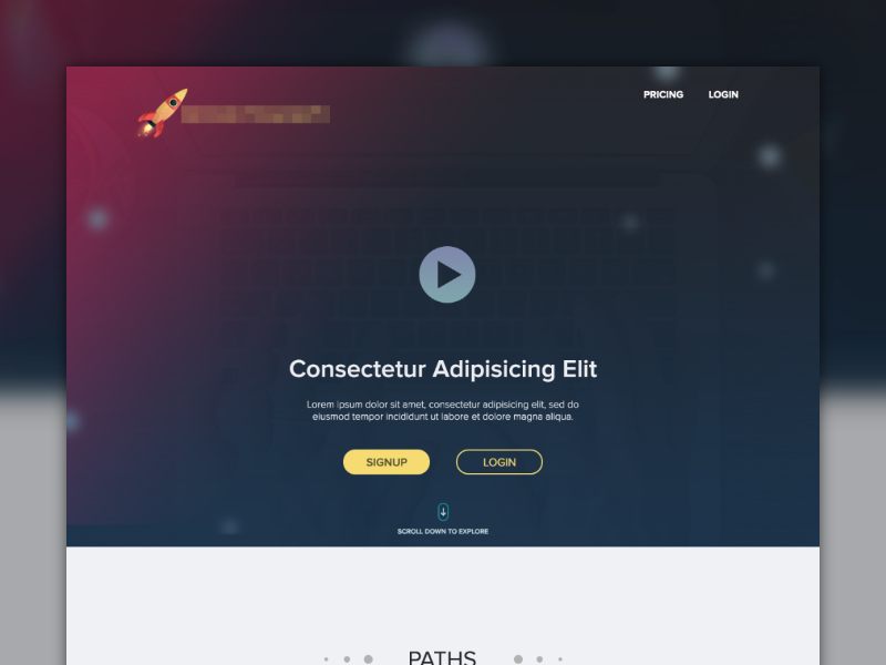 Homepage UI video-play call-to-action hero landing-page ui ux made with invision