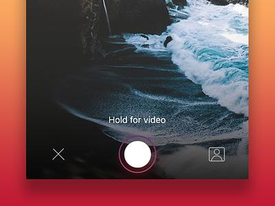 Capture mode landscape capture video camera ios purple messaging ui-ux