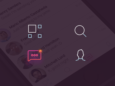 Navigation Icons home feed search profile messages gradient bicolor outlines iconography icons ui-ux