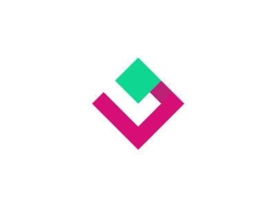L+P logomark square l cyan pink shapes branding design logo-exploration