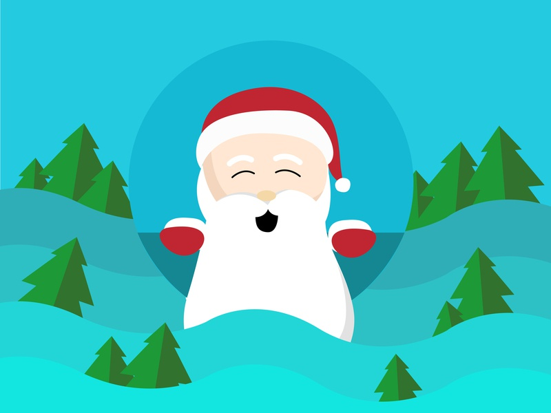santa claus and the christmas trees design icon flat vector character illustration art