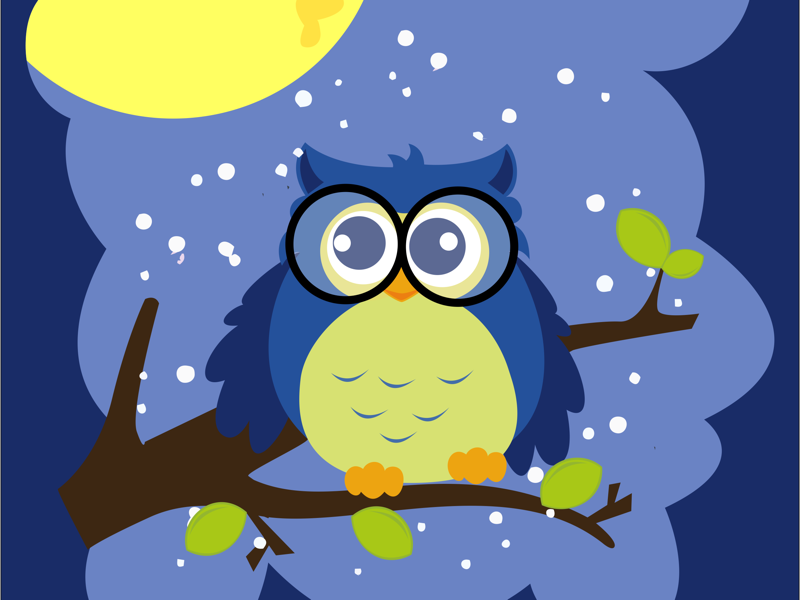 Owl intelegensia intelligent owl cute night illustration vector owl