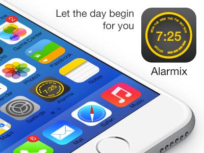 Alarmix apps application alarm clock icon snooze time knob wheel ui