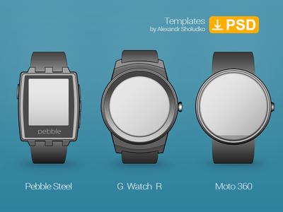 Smartwatch Template. Pebble Steel, LG G watch R & Moto 360