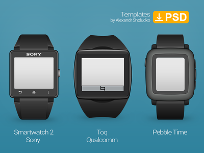 Smartwatch Template. Sony Smartwatch 2, Qualcomm, Pebble Time.