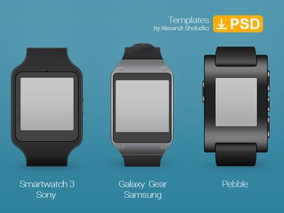 Smartwatch Template. Sony Smartwatch 3, Galaxy Gear, Pebble. galaxy gear sony smartwatch 3 watch smartwatch wireframe mockup template