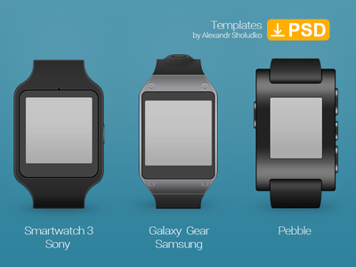 Smartwatch Template. Sony Smartwatch 3, Galaxy Gear, Pebble.