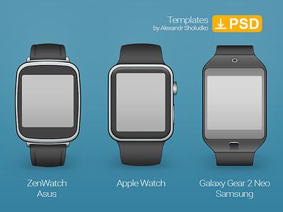 Smartwatch. Asus Zenwatch, Apple Watch, Galaxy Gear 2 Neo template mockup wireframe smartwatch watch apple watch zenwatch asus galaxy gear neo