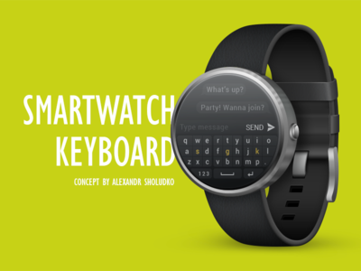 Smartwatch Keyboard Concept. Mockup Moto 360