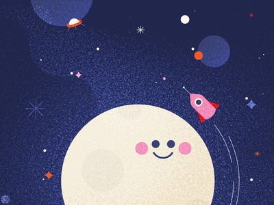 🌝 children kids cute graphic karolienpauly photoshop vector illustrator planet ufo rocket galaxy nebula texture space moon illustration