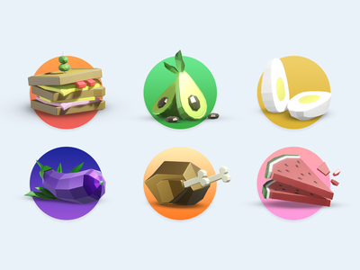 Delicious food icons for app