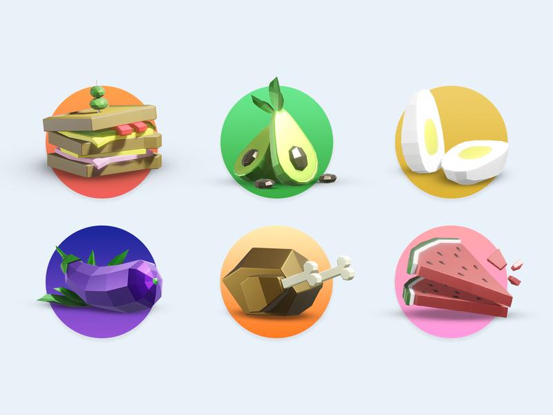Delicious food icons for app icon icons render illustration 3d models blender3d 3d design