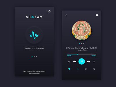 SHAZAM DARK MODE logo design ux app ui