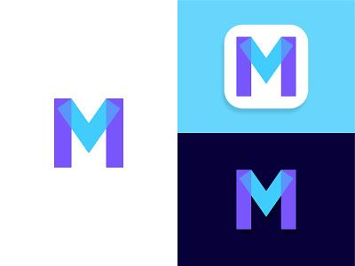 MV Monogram for sale unused buy purple blue overlap overlay letters logo design concept sticker app strong effective balance dynamic effect geometric art logo design brand identity logo designer for hire minimalist flat modern