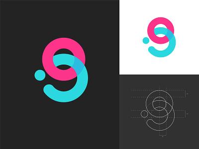 Letter G [sold] logo designer minimalistic logos monogram icon abstract art logo design branding logo design letter o letter g grid construction turquoise pink colorful overlay logo concept sketch modern minimal flat design