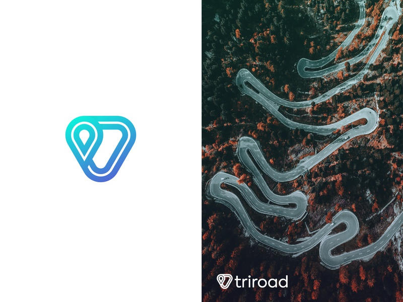 Logo Concept - Triroad logo designer speedway track and field art nature road logo symbol fast dynamic speed sports logo minimalist flat modern location pin road speed blue gradient abstract art branding and identity logo design