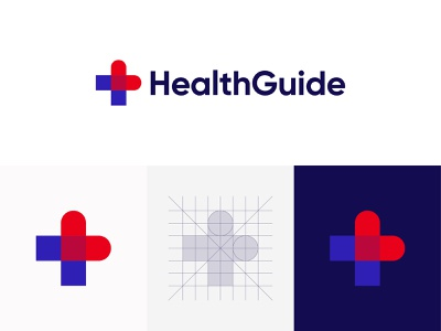 HealthGuide Logo app growing process arrow arrows head logo grid construction support human healthy technology client patient hospital cross medical drugs treatment social balance logomark minimalist flat modern geometric art dynamic effect abstract art logo designer logo design branding and identity