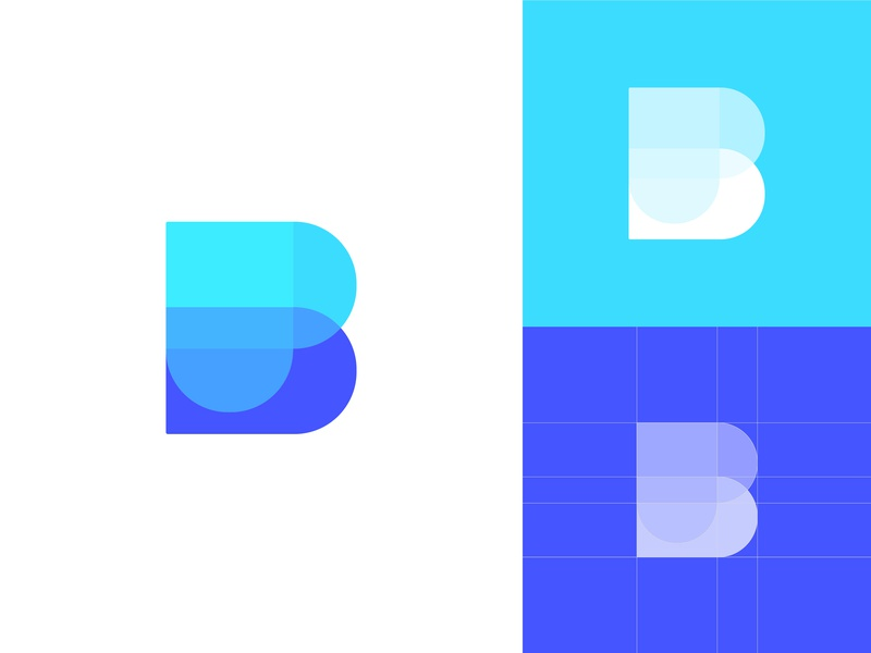 Letters B and P,  Heart Icon turquoise blue colors fusion fitness health care fit overlays heart beat rate app heart icon letter p letter b balance monogram letter mark logomark minimalist flat modern geometric art dynamic effect abstract art logo designer logo design branding and identity