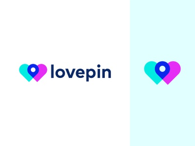 Logo Concept - lovepin colorful turquoise blue purple symbol mark heart icon social network clever illustration smart visual location pin meeting dating app love hearts connect minimalist flat modern geometric art dynamic effect abstract art logo designer logo design branding and identity