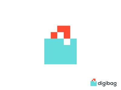 Digibag Logo Design complementary connections minimalist flat modern digital branding tech logo technology turquoise salmon color pixel digital bag dynamic effect logo design geometric art branding and identity logo designer