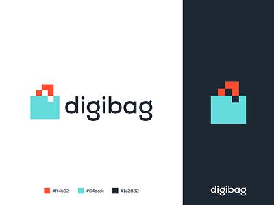 Digibag Logo Design turquoise salmon colors technology tech concept digital bag brand and branding marketing minimal minimalist flat logo design logo desginer