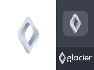 Glacier Logo Concept logo twist snowflake ice cold icon app marketing site gradient dynamic effect connection interaction glacier logo design geometric art minimalist flat modern branding and identity logo designer