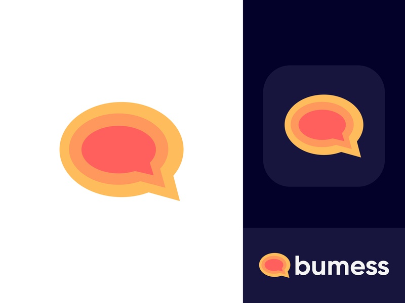 Logo Concept - Bumess chat bubble logo design concept colorful orange media app message messaging connection interaction dynamic effect minimalist flat modern branding and identity logo designer