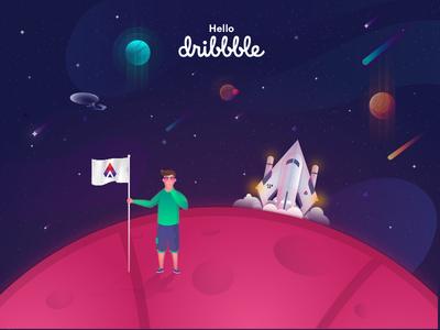Hello Dribbble! hello dribbble galaxy rocket character logo branding icon ui vector design illustration