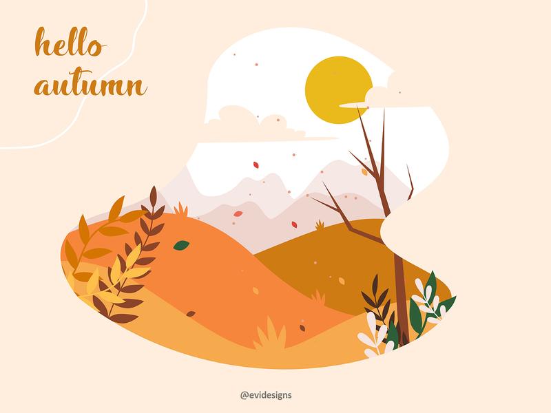 hello autumn dailyillustration warmcolors autumn hello digitalart vectorart artwork digital vector art illustration design